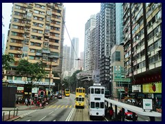 Causeway Road/Kings Road, Causeway Bay, an important thouroughfare for doubledecked trams. It is the same road as Hennessy Road in Wan chai.