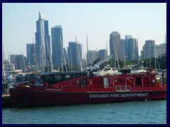 Chicago Architecture Foundation Boat Tour 93 - Fire boat in front of South Loop