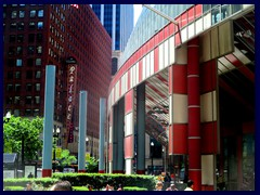 James R. Thompson Center's entrance and Cadillac  Palace