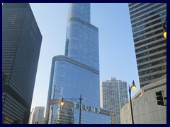Chicago Riverwalk 001  - Trump Tower, Chicago's 2nd tallest building with 98 floors and 423 m tall