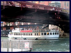 Chicago Riverwalk 059 - Architecture tour boat passing Clark Street bridge