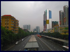 Bus station seen from an overpass of Zhongshan Avenue near our hotel.