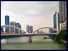 Haizhu district (right), Jiefang Bridge and Tianhe district (left) seen from Haizhu Bridge, a bridge across the Pearl River.