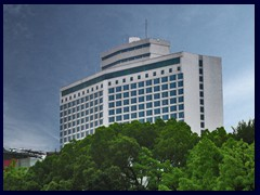 White Swan Hotel in Yuexiu district opposite Shamian Island was built in 1983 as one of the first  highrises in Guangzhou.