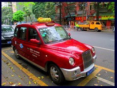 The London taxis are manufactured in Guangzhou nowadays, that's why you can see some of them here.
