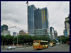 Guangzhou Exchange Square. Intersection Guangzhou Qiyi Road/Donfengdong Road at People's Park, one of the most central part s of old Guangzhou.