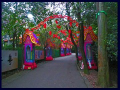 Colourful decorations in one of the hilly walking paths of Yuexiu Park.