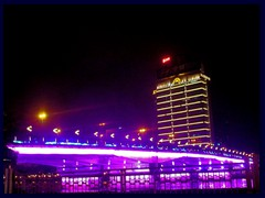 Illuminated bridge above Pearl River near Shamian Island by night