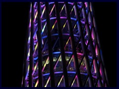 Canton Tower, Guangzhou's tallest structure (600m), changes colour frequently at night.