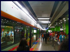 The metro is very modern with glass walls with automatic glass doors at all stations. It was inaugurated in 1997, as the 4th metro system in mainland China. In contrary to Shenzhen, you don't have to scan your bag any time you enter the train area in Guangzhou. It can be complicated to buy a day card if you don't speak Cantonese, but once you have it after a lot of misunderstandings, it is very easy and extremely cheap to travel anywhere in the city. The staff at our hotel was very nice and helped us with that. There are 8 lines and the trains arrive as often every 3 minutes daytime, still they are very often overcrowded!