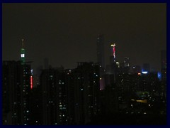 Guangzhou night skyline from our hotel room at the Yutong Hotel, from the left: Canton Tower, Chow Tai Fook Centre, IFC.