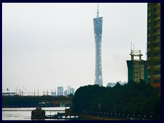 View of Canton Tower in Haizhu district, the world's 5th tallest structure, from a bridge above Pearl River.