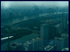 View from the Four Seasons Hotel on the 70th floor of the 103-storey IFC Bldg, towards Pearl River.