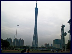 Canton Tower, built 2010, is 600m tall to the top. Twice as tall as the Eiffel Tower, it was the world's tallest freestanding tower for 2 years, now it is 5th tallest.