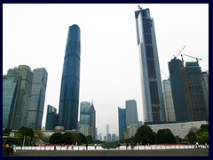 The skyline of Zhujiang New Town with Chow Tai Fook Centre (530m, 111 floors, u/c, 2016) and IFC (438m, 103 floors, 2010 ) the two tallest skyscrapers of Guangzhou.