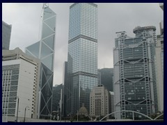 Statue Square, the historical heart of Hong Kong. In the middle is the 69-storey Cheung Kong Centre by Li Ka-shing, built in 1999. It's feng shui was adjusted to its neighbour, Bank of China Tower. Because of superstition,  it lacks all floors that ends with 4.