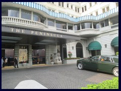 Peninsula Hotel, situated at the junction Nathan Rd/Salisbury Rd, is one of Hong Kong's oldest and most famous luxury hotels. The hotel was featured in a James Bond movie (The Man with the golden gun), a Batman movie (The Dark Knight) and is famous for its large fleet of Rolls-Royces. It opened in 1928 and has 300 rooms. In 1994 the Peninsula was expanded with a 30-storey tower, that has one of only to private helipads in the territory.