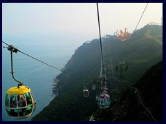 Cable cars at Ocean Park, above the South China Sea.