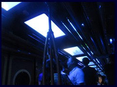 This funny subway train with circular windows and TV screens on the roof, simulating the effects of travelling through the sea, took us back through the mountain back to the other side, that we passed over by cable cars, in just 3 minutes.