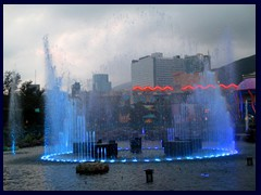 Ocean Park's fountain with Aberdeen's skyline in the background.