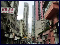 Typical streetscape of Sheung Wan and Sai Ying Pun.