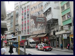 Queens Road West, Sheung Wan, just outside our hotel. Sammy's Kitchen's neon sign was our landmark.