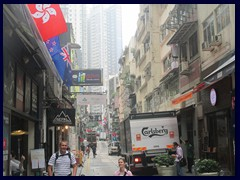 Staunton St, SoHo. Note the Hong Kong flag to the left. Danish Carlsberg beer is very popular in HK and China.