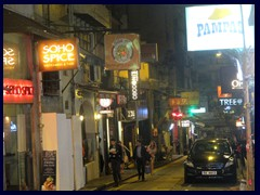 SoHo by night.  SoHo, that means South of Hollywood Road, is Hong Kong Island's foremost and most hip  entertainment and restaurant district