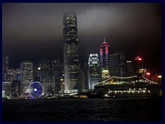 Central district on Hong Kong Island by night; here dominated by International Finance Center and The Center