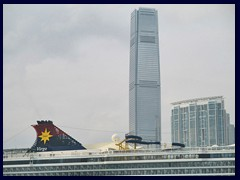 International Commerce Center on West Kowloon, Hong Kong's tallest building, and a luxury cruise ship.