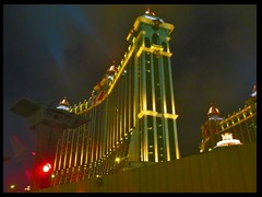 Galaxy Macau is a huge hotel along Cotai Strip on Taipa Island. It opened in 2011 and is like a city-within-the city! It was designed by Gary Goddard. It has  2 200 rooms and consist of Galaxy, Okura and Banyan Tree hotels. A JW Marriott and a Ritz-Carlton are planned to be added. A resort with an artificial beach and a wave pool is also planned for the hotel. The 6 cupolas of the hotel towers are all of 24 karat gold! 3D cinemas, wishing crystals, a fortuen diamond and the world's largest laser show are among the incredible feature of the resort. The project's cost has increased to HKD 16.5 billion. With a floor area of 980,000 m2 it is currently the world's 7th largest building.