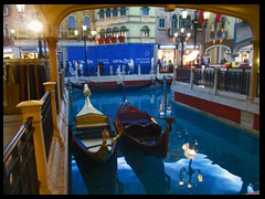 There is a long Venetian canal inside the Venetian, complete with gondolas where tourists can take a ride. It is divided into two parts and on the side is modern chain stores, a bit like a mall.