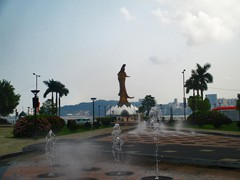 Alameda Dr. Carlos D'Assumpcao towards Avenida Dr. Sun Yat-Sen and Kun Iam Statue. In the background is Taipa Island.