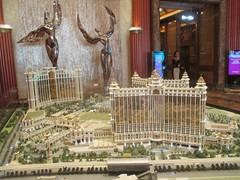 A model of the larger Galaxy Hotel on Taipa Island inside the lobby of Galaxy StarWorld.