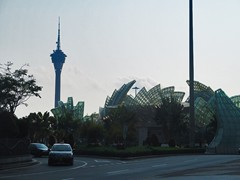 Macau Tower (tallest structure in Macau) and the roundabout in front of Grand Lisboa with strange glass sculptures.