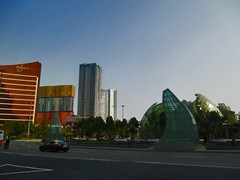 The roundabout in front of Grand Lisboa with strange glass sculptures.