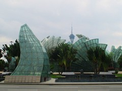 Strange glass shapes in the roundabout in front of Grand Lisboa.