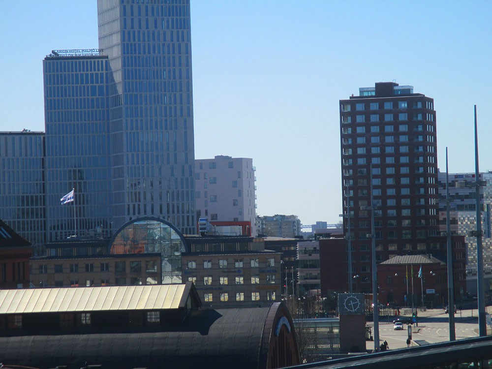 Malmö skyline from the central station\'s garage