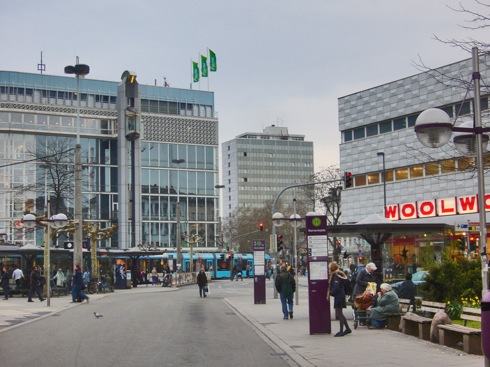 ad373eff56a5e Bismarckplatz is a major transportation hub for trams and buses, as well as  home of 2 large department stores: Galeria Kaufhof with its panorama  elevator, ...