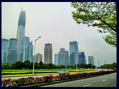 Futian district seen from Shennan Boulevard, dominated by Pingan Int'l Finance Centre.