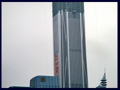 Pingan International Finance Centre, that will become Shenzhen's tallest building with 115 floors, standing 600m tall (twice as tall as the Eiffel Tower) upon completion in 2016. It already dominates the  Futian District.