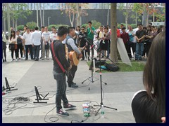 Pop rock band performing in Futian, near Civic Center
