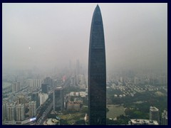 KK100, currently Shenzhen's tallest building (until 2016), was built in 2011 and also has an observation deck. It stands 442 m tall and has 100 floors. Views from Shun Hing Square. See more in the skyline section.