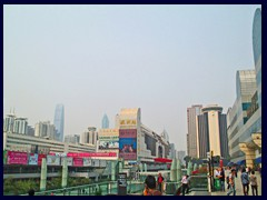 Luohu district: Luohu Station with KK100 and Shun Hing Square dominating Shenzhen's skyline in afar.
